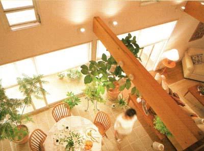 吹き抜けと大開口のLDKは、勾配天井で豪華さも満点