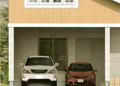 広々ゆとりの2台ガレージ部分は、玄関とのつながりもよく生活に便利です。幅5.4mものビルドインガレージは今までの木造では困難だったスペースです。