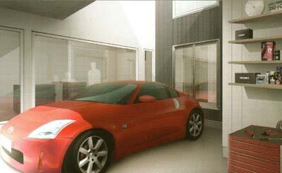 1Fガレージ横のワークスペース。機械いじりをしたり、車にまつわるコレクションを飾ったり、屋外収納としても重宝します|枚方市 新築・建て替えなら椎葉テクノホーム テクノストラクチャー