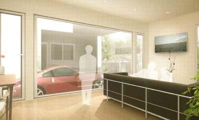 車を鑑賞するための全面ガラスを採用。この大開口を新Mフレー㎡ウが支えます。往来からのプライバシーを保ちながら、採光もたっぷり。