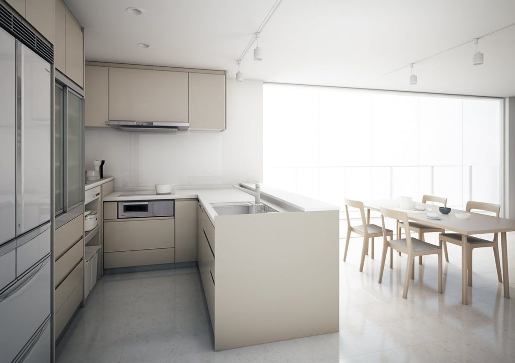L型オープンキッチン
