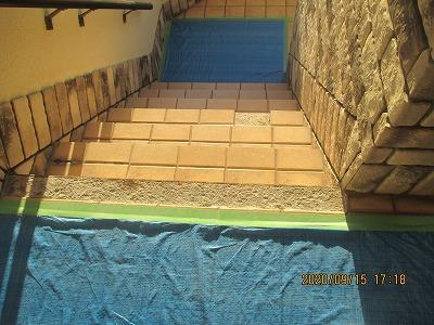 階段タイル補修